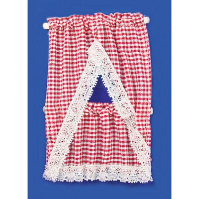 Red gingham dollhouse miniature kitchen curtains.