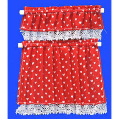 Red heart dollhouse miniature cottage curtain.