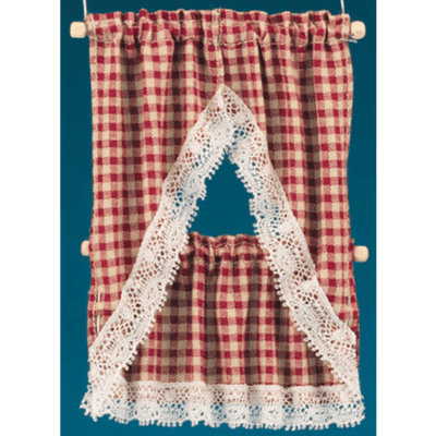 red check dollhouse miniature curtains