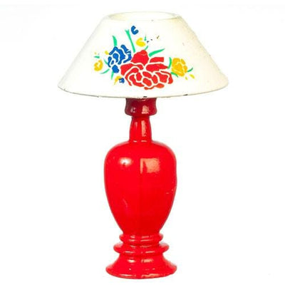 red dollhouse miniature lamp