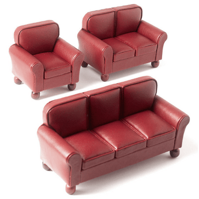 3-Piece Red Leather Dollhouse Miniature Living Room Set - Little Shop of Miniatures