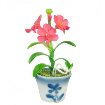 Red Dollhouse Miniature Vanda Orchid Plant in a Pot - Little Shop of Miniatures