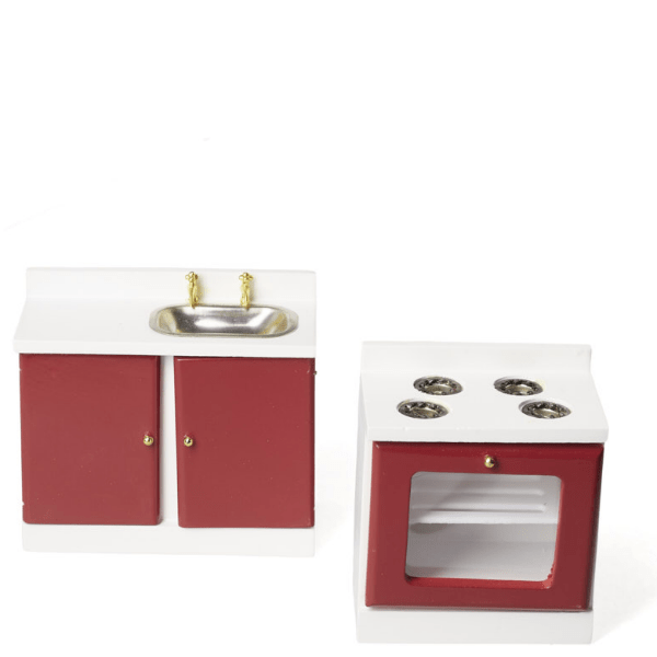 red retro dollhouse miniture stove and sink