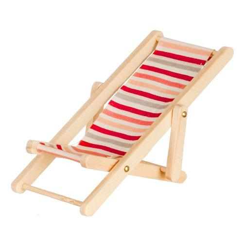 red stripe dollhouse miniature beach chair