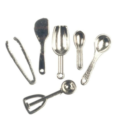 six dollhouse miniatures kitchen utensils