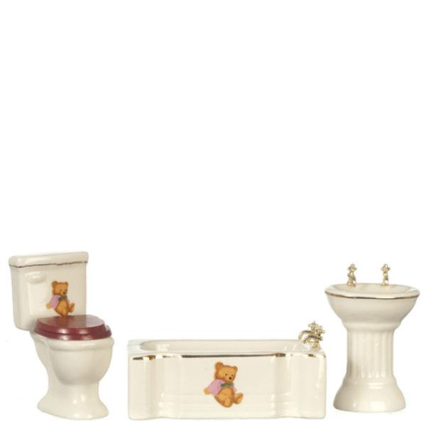 teddy bear dollhouse bathroom set