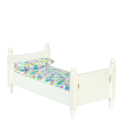 twin dollhouse miniature bed with floral bedspread
