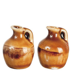 two dollhouse miniature clay jugs