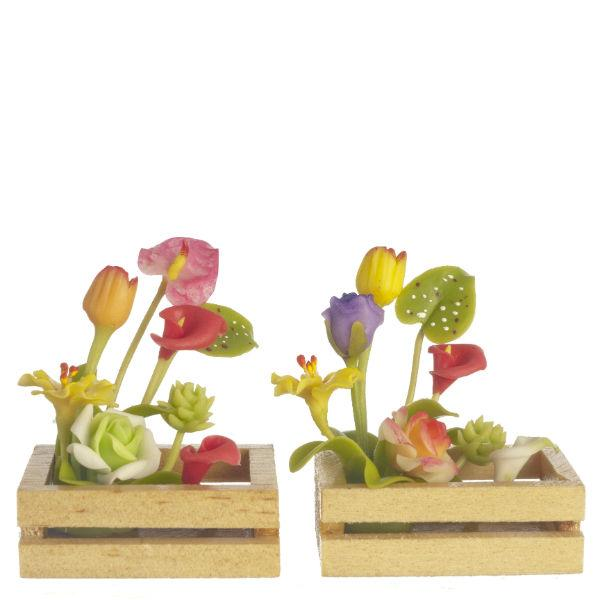 two dollhouse miniature flowers in boxes