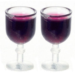two glasses of dollhouse miniature red wine