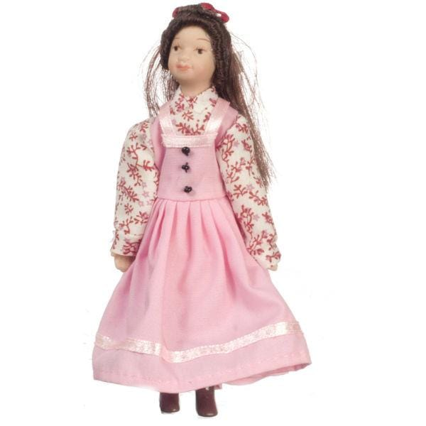 victorian dollhouse doll in a pink dress