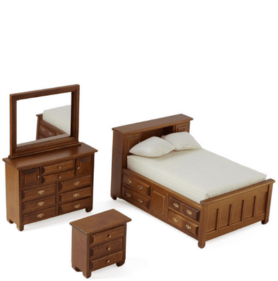 walnut dolhouse miniature bedroom set