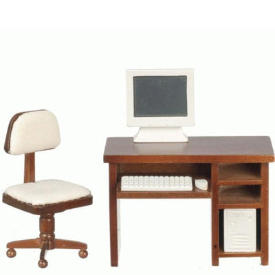 walnut dollhouse miniature computer desk set
