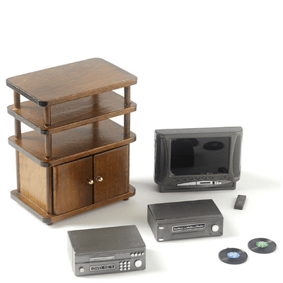 Walnut Dollhouse Miniature Entertainment Center with Accessories - Little Shop of Miniatures