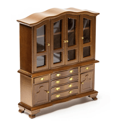 walnut dollhouse miniature hutch