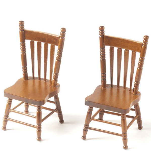 walnut dollhouse miniature kitchen chairs
