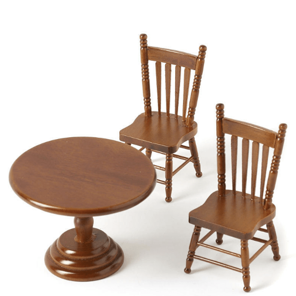 walnut dollhouse miniature kitchen table and two chairs