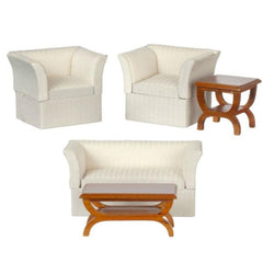 white dollhouse armchairs and wood tables