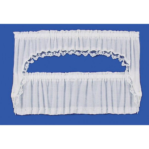 White dollhouse curtains.