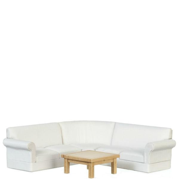 White Dollhouse Miniature Corner Sofa with Coffee Table