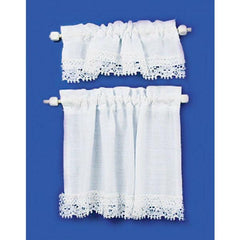White dollhouse miniature cottage curtain.