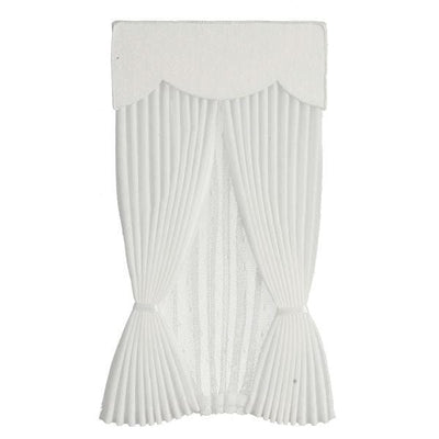 white dollhouse miniature curtain