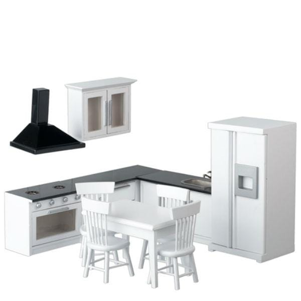 white dollhouse miniature kitchen and dinette set