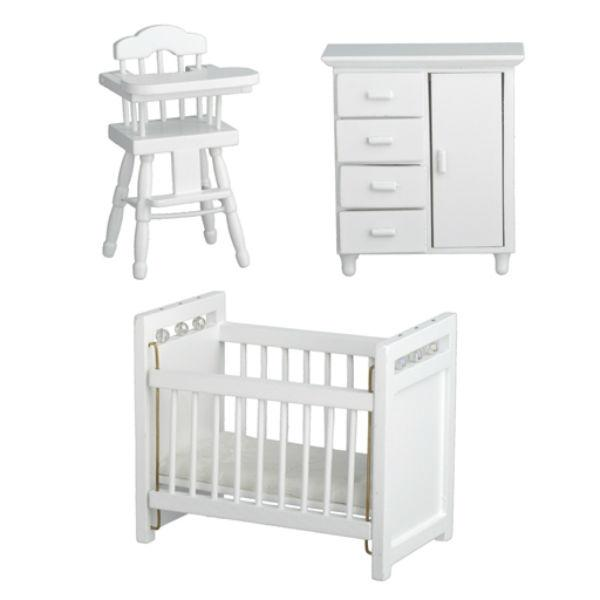 white dollhouse miniature nursery set