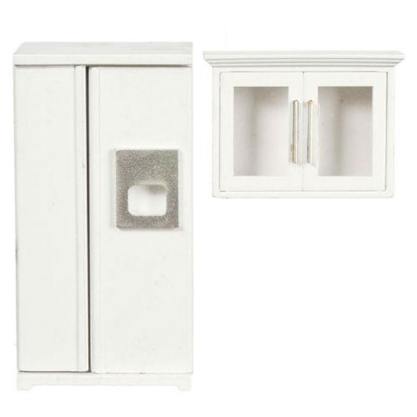 white dollhouse miniature refrigerator with white cabinet