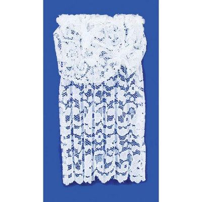 White lace dollhouse curtain with a valance.