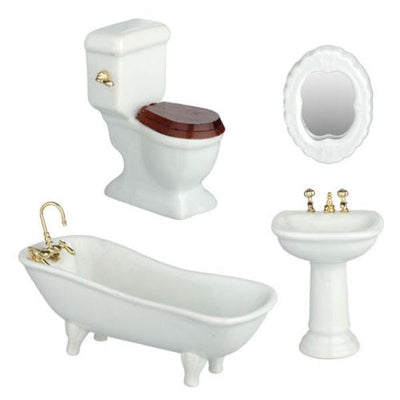 4-Piece White Porcelain Dollhouse Miniature Bathroom Set - Little Shop of Miniatures