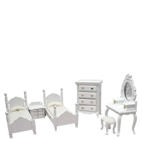 6-Piece White Dollhouse Miniature Bedroom Set - Little Shop of Miniatures