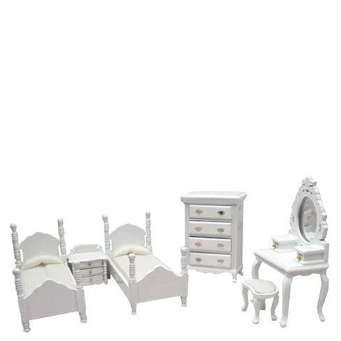 white dollhouse miniature bedroom set