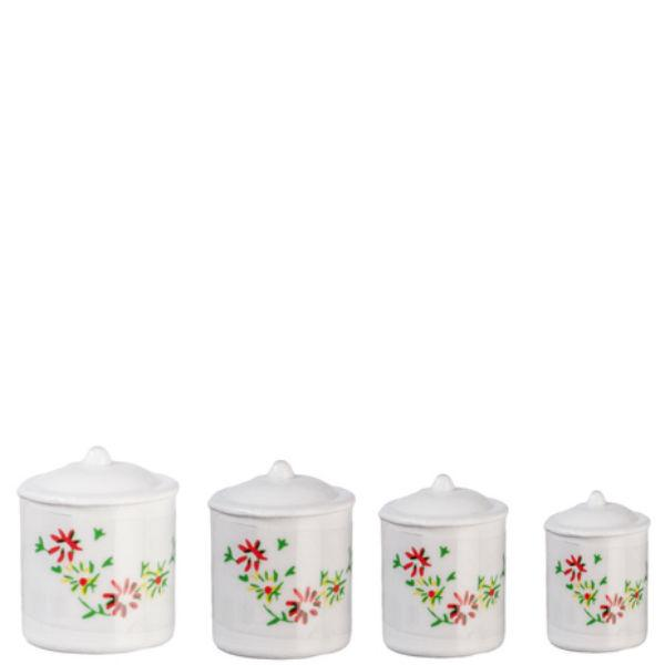 white dollhouse miniature canisters