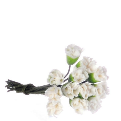 One Dozen White Dollhouse Miniature Carnations - Little Shop of Miniatures