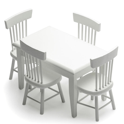 white dollhouse miniature dining set