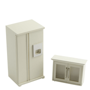 white dollhouse miniature fridge and cabinet