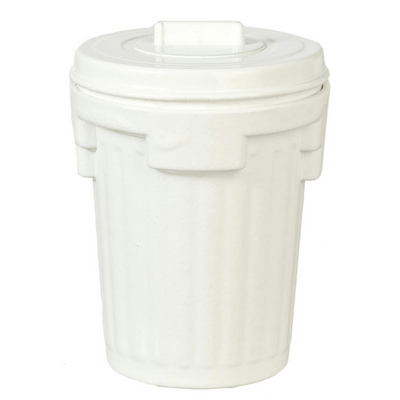 White Dollhouse Miniature Garbage Can - Little Shop of Miniatures