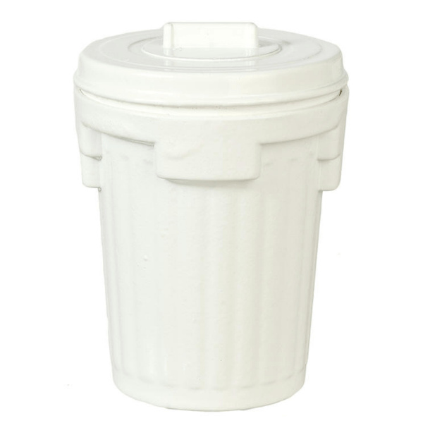 white dollhouse miniature garbage can