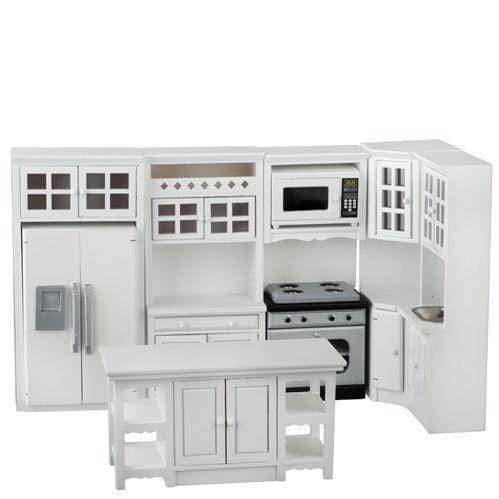 white dollhouse miniature kitchen set