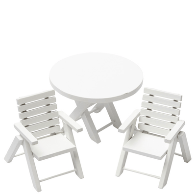 white dollhouse miniature patio set