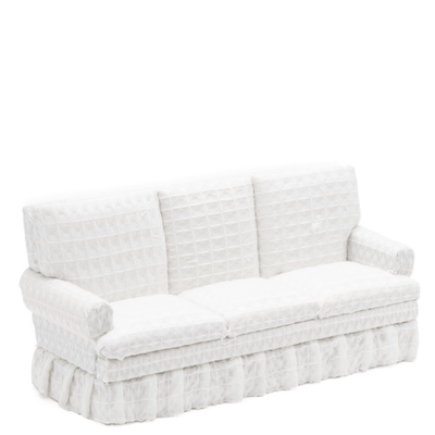 white dollhouse miniature ruffle sofa