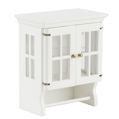 white dollhouse miniature wall cabinet