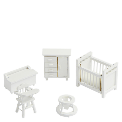 white half scale dollhouse miniature nursery set