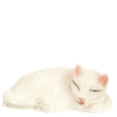 white sleeping dollhouse miniature cat