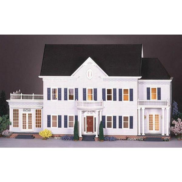 Wood dollhouse with front porch.