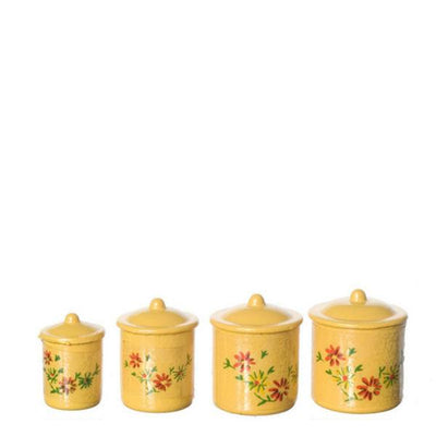 Yellow Dollhouse Miniature Canisters - Little Shop of Miniatures