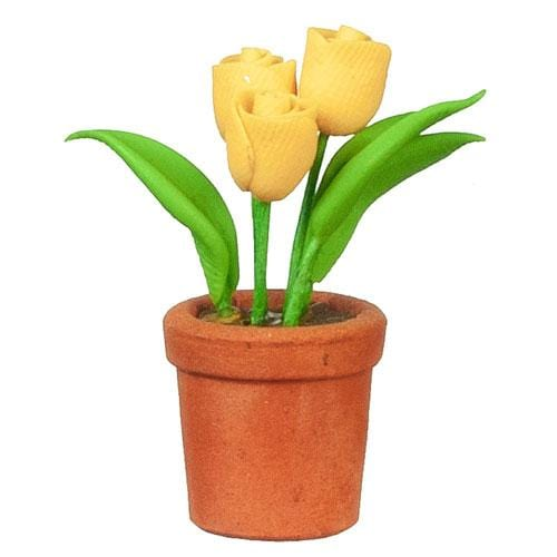 yellow dollhouse miniature tulips in a pot