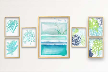 Turquoise Coral Beach House Gallery Wall Art By Alex Isaacs