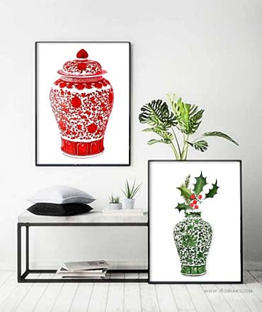 Red and Green Chinoiserie Christmas Art